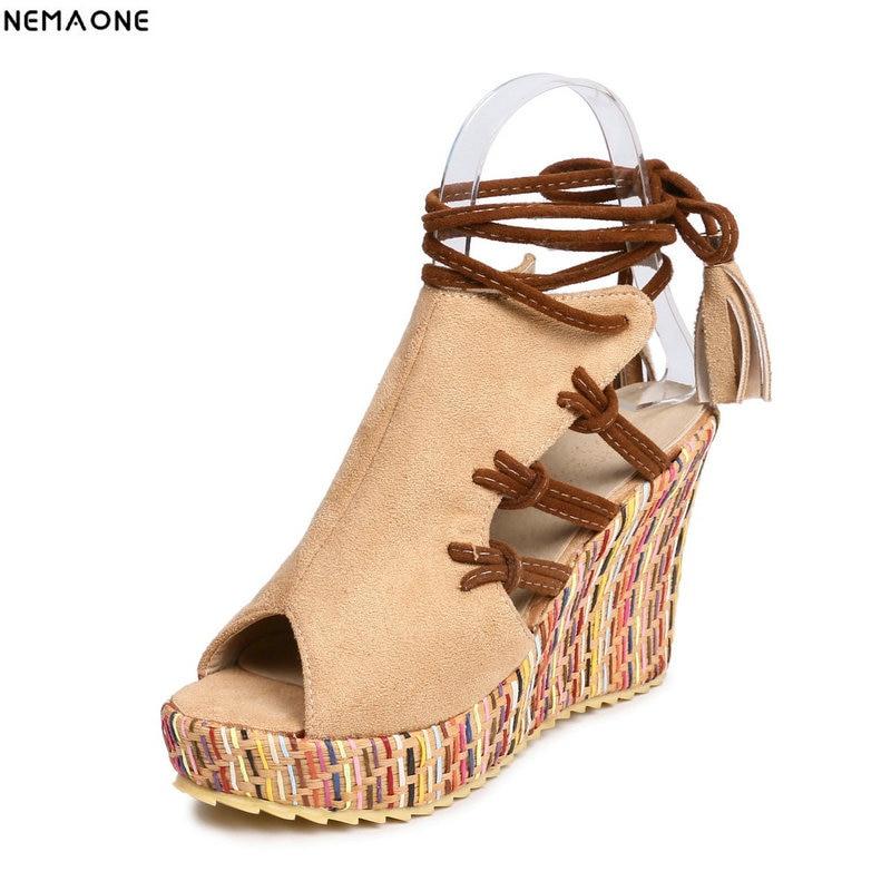 NEMAONE New Wedge Sandals Women Summer lace up High Heels Ladies party dress Shoes orange blue beige