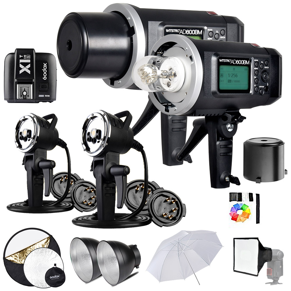 2 Pcs <font><b>Godox</b></font> <font><b>AD600BM</b></font> 600Ws GN87 1/8000 HSS Outdoor Flash Strobe Monolight with X1T Wireless Flash Transmitter, 8700mAh Battery, image