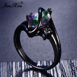Женское кольцо с радугой, 11 цветов, черное, золотое, винтажное, для свадьбы