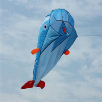 High Quality 3D Huge Soft Parafoil Giant Dolphin Blue Kite Outdoor Sport Easy To Fly Frameless