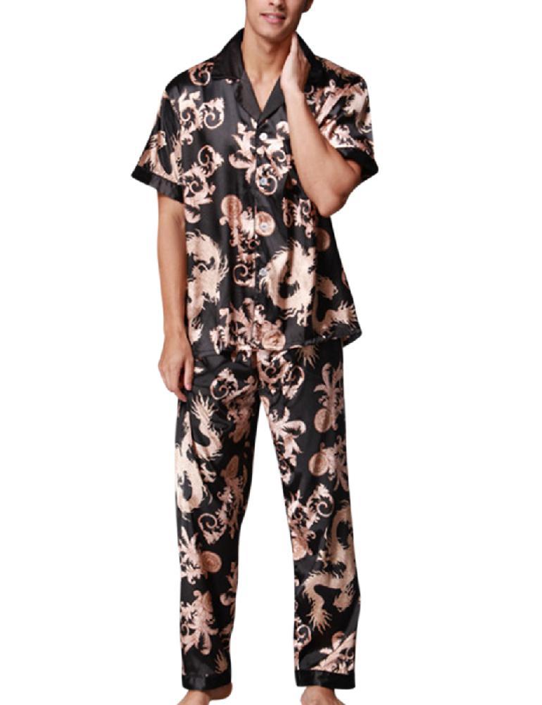 Men's Sleepwear Sets  Simulation Silk Pajamas Set Floral Printed Comfortable Soft Sleepwear S For Husband Gift SAN0