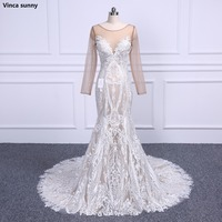 Vestidos De Noiva 2018 Stickerei Spitze Meerjungfrau Hochzeit Kleider Oansatz Langhülse Spitze Appliqued Champagne Meerjungfrau Hochzeitskleid