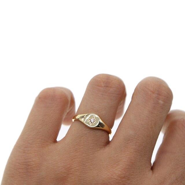 Simple or couleur anneau d'étoile bagues de fiançailles 2018 new star gravé avec unique cz pierre minimal doigt délicat bijoux pour femmes