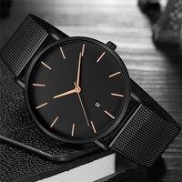 Черные часы мужские часы лучший бренд класса люкс известные из нержавеющей стали Кварцевые наручные часы для мужчин часы мужские наручные ...