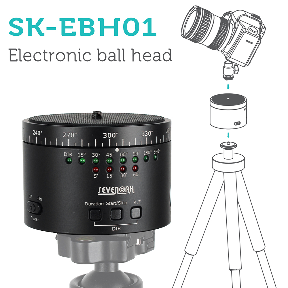 SEVENOAK SK-EBH01 Electronic 360 Degree Swivel Panoramic Tripod Ball Head for DLSR Camera for Iphone Sony A7s A7r NEX-6