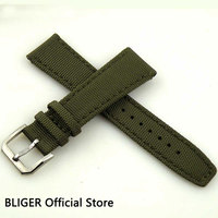 BLIGER 1PCS 22mm Watchband waterproof Nato strap silver buckle watch band green Nylon watch strap for clock ST006