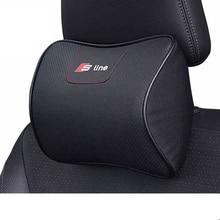 S line Para Audi A4 Sline Espuma de Memoria Súper Blando de Cuero Almohadilla del Cuello del coche Asiento de Auto Cubierta de La Cabeza del Resto Del Cuello Del Amortiguador Reposacabezas almohada