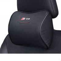 For Car Audi Sline Leather Neck Pillow Super Soft Memory Foam Auto Seat Cover Head Neck