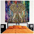 150cmx210cm Bohemian Hippie Wall Tapestry Elephant Carpet Colored Printed Decorative Indian Mandala Beach Mat Towel Picnic Sheet