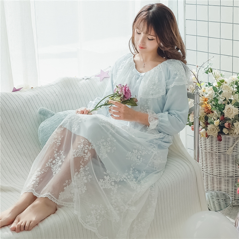 022acf771ce Princess sweet lolita Nightgowns The fairy palace long Japanese lace  Nightgown Princess wind cotton Home Furnishing thin QQ0104