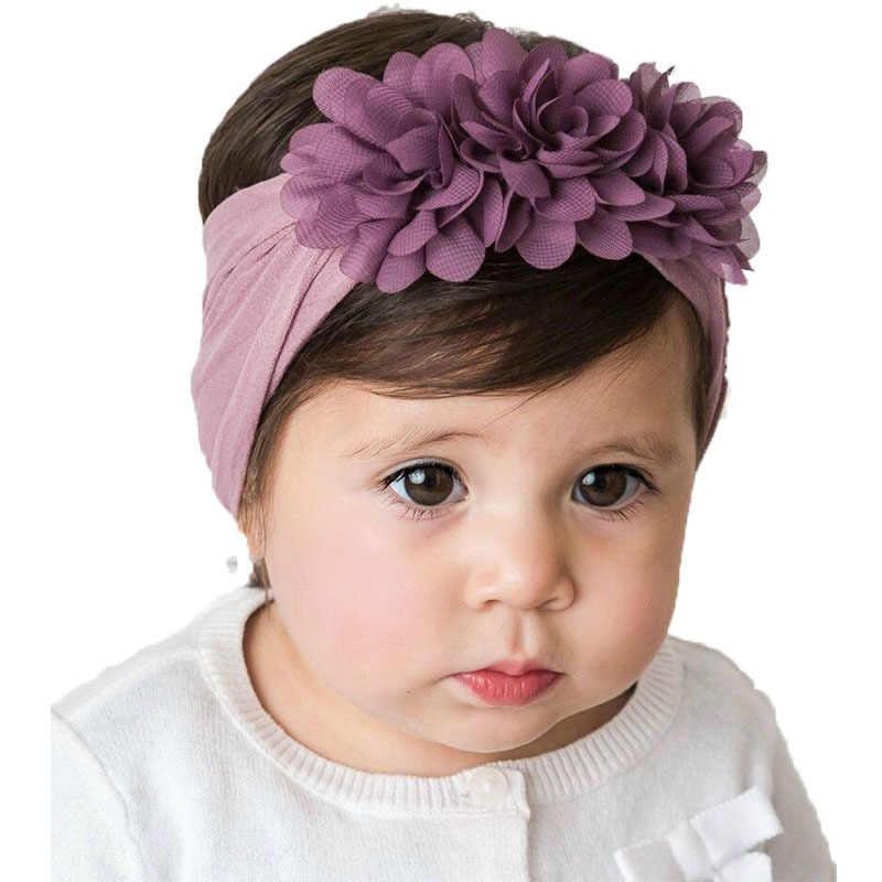 เด็กหญิงเด็กหญิงชีฟอง Headbands เด็กวัยหัดเดินเด็กทารกอุปกรณ์เสริมผมสำหรับสาว Turban Solid Headwear ผม Band Bow สาวอุปกรณ์เสริม