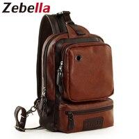 Zebella Black Blue Brown PU Leather Messenger Bag Casual Travel Chest Men Handbags With Earphone Hole