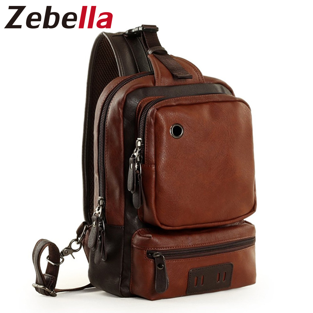 Zebella Brand Ерлердің иық сөмке Vintage Ерлер Crossbody Bag Ерлер Chest Bags Casual Fashion PU Былғары Men Messenger сөмке