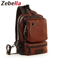 Zebella Black Blue Brown PU Leather Messenger Bag Casual Travel Chest Men Handbags With Earphone Hole