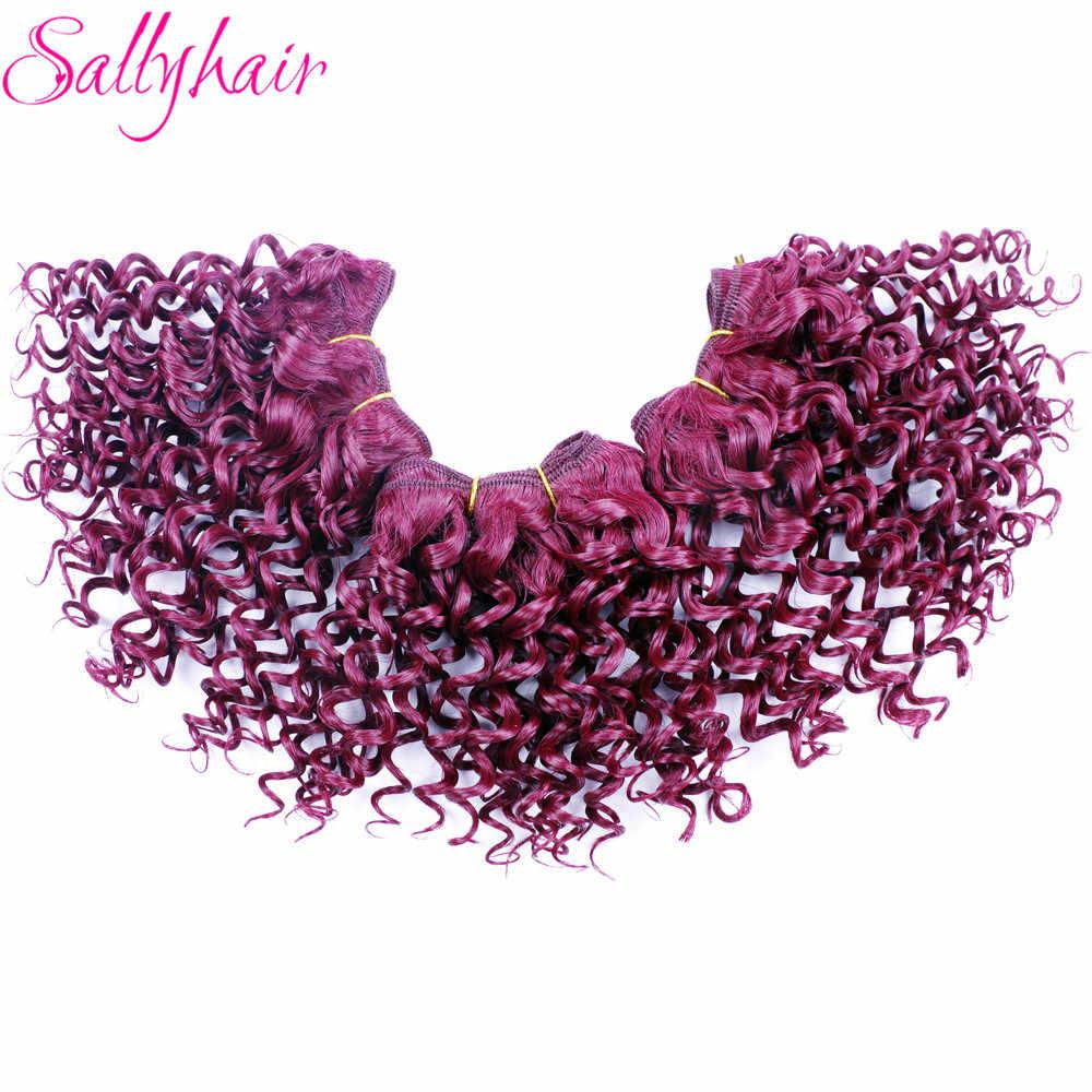 Sallyhair афро кудрявый вьющиеся крючком волос Weave Ombre Цвет высокое Температура утка Синтетические пряди для наращивания волос 3 шт./лот волос переплетений
