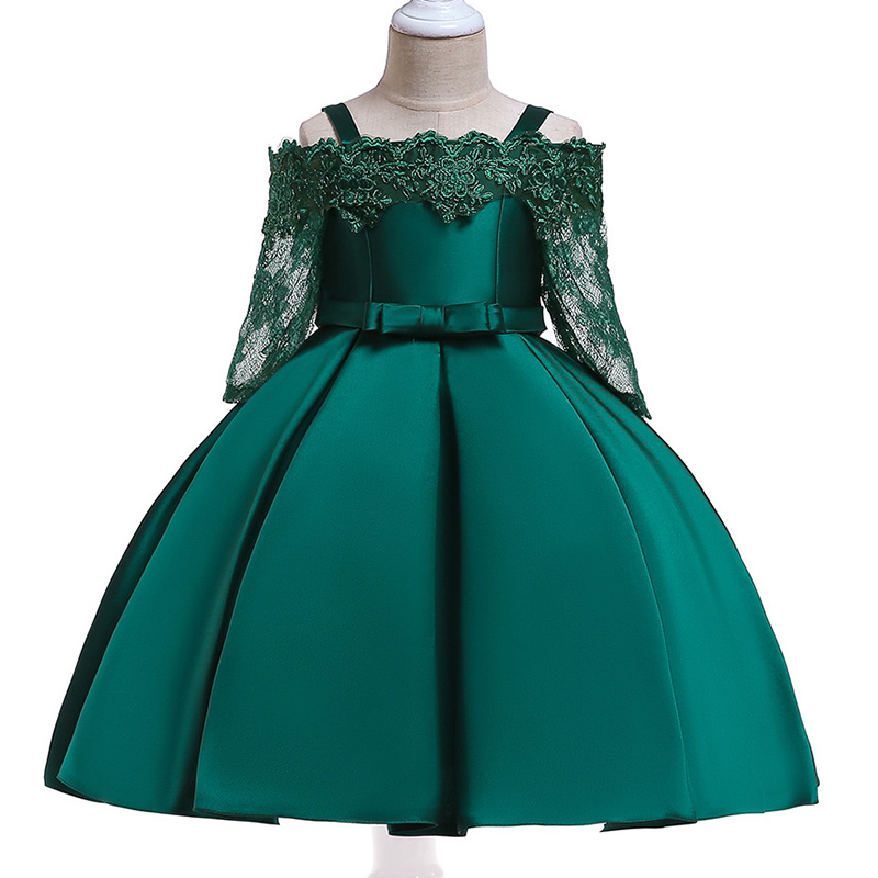 Retail High Quality Boutiques Cute Beading Princess Formal Evening Party Prom   Dress   Elegant   Flower     Girls     Dress   With Bow L5017