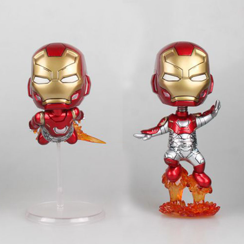 Free Shipping Cute 4 Super Hero Ironman Iron Man Flying Ver. Bobble Head Shaking Head Toys Model Car Decoration PVC Figure Doll