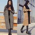 Hitz женская мода в длинный отрезок был тонкий карман свободные трикотажные свитера пальто YF28