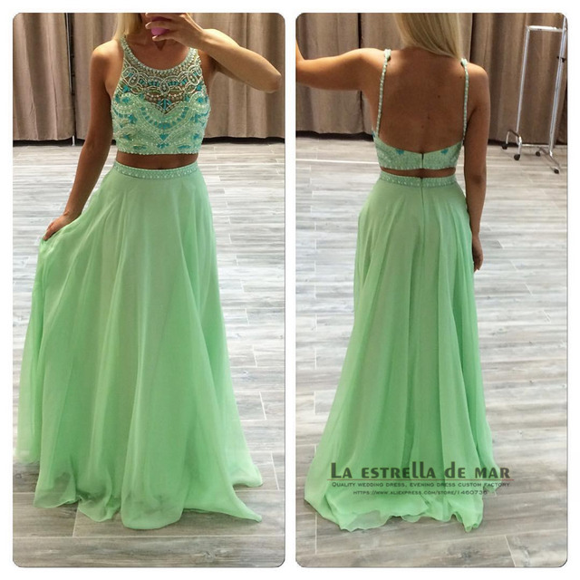 49fb8ecaa Dress for graduation 2019 new chiffon A line crop top mint green prom  dresses long plus size puffy 2 piece prom dresses