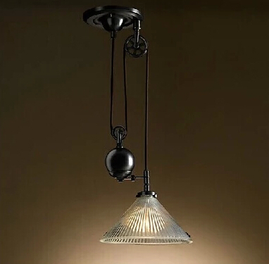 American retro nostalgia pulley lift glass chandelier restaurant study lamp light, material iron, E27, AC110-240V european rural bird marble hemp rope chandelier cafe restaurant corridor balcony chandelier size 33 38cm e27 ac110 240v