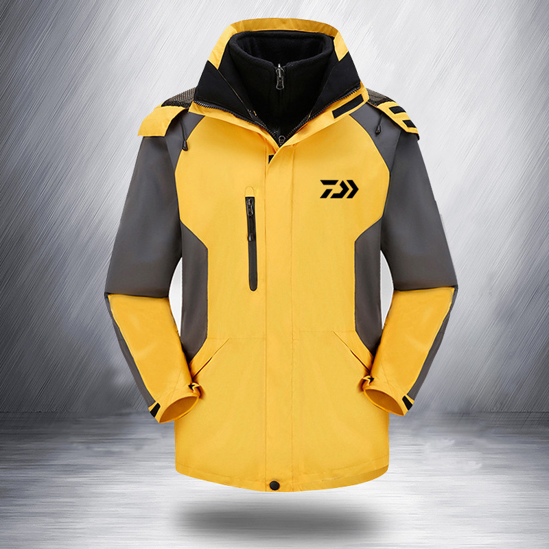 2019 Daiwa Fishing Clothing For Men Women Autumn Winter Waterproof Warm Fishing Jackets Patchwork Hooded Mountaineering Suits