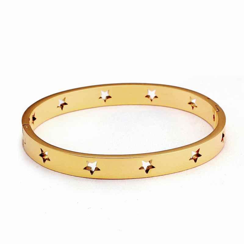 316L, brazalete de acero inoxidable para mujer, brazalete calado con estrella chapada en oro, brazalete de moda femenina, joyería de pulsera de oro rosa