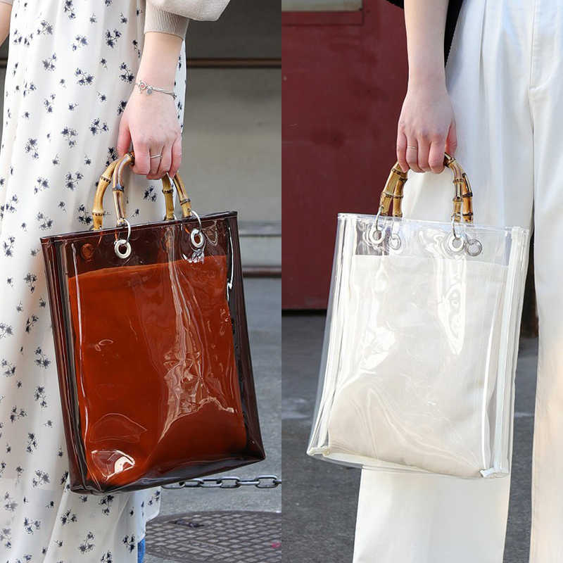 Minority designer Han Chao brand   bag big bag  transparent PVC plastic bag  bamboo section  portable tote bag