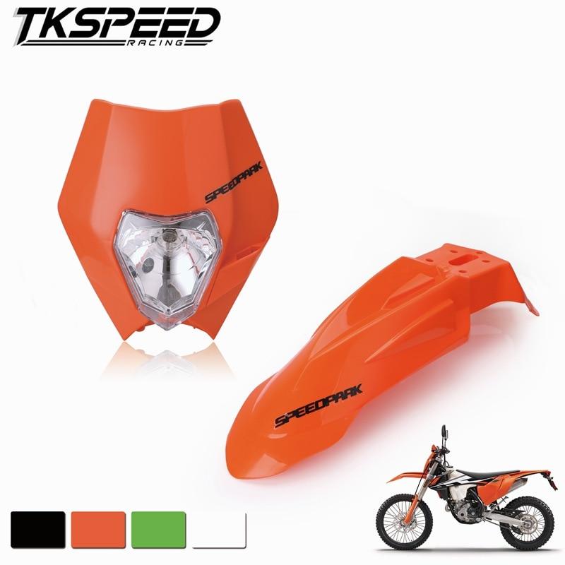 Motorcycle Dirt Bike Motocross Supermoto Universal Headlight Fairing+Front Fenders For Honda Yamaha Suzuki KTM DRZ