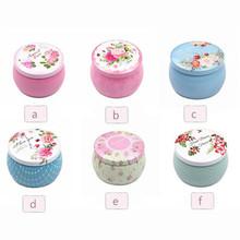 New Ethnic Style Flower Tea Gift Box Round Shape Tinplate Storage Box for Kids Stationery Candy Women Jewelry Storage Organizer