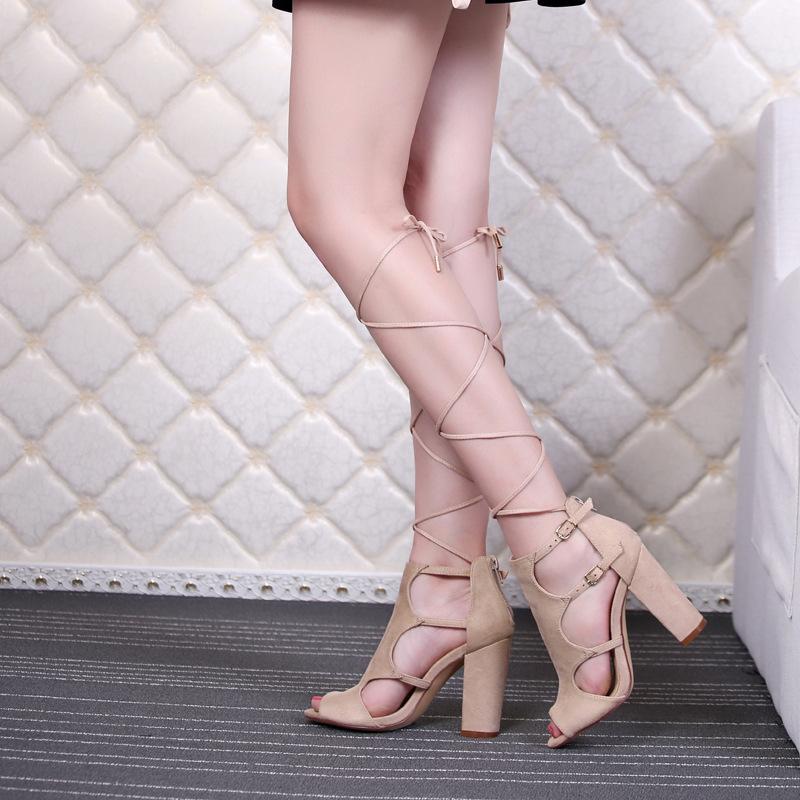 2016 Woman Sandals Pu Leather Roman Thick with Fish Mouth Shoes Hollow-out High-heeled Sandals Plus Size Women Strap Boot zebra ботинки