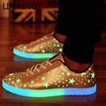 LIN KING Luminous Shoes Fluorescence Star Low Cut Ankle Light Up Glowing Adults Lover Men Women Leather Footwear Zapatos Mujer