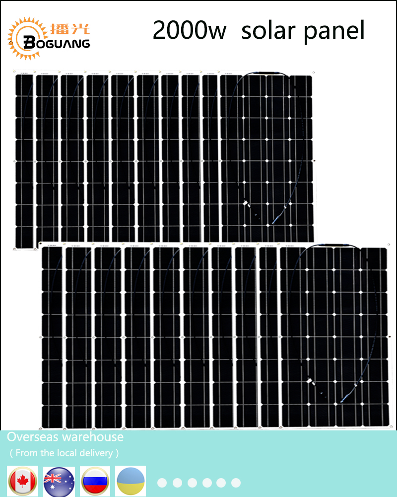 Boguang 2000w solar kit 20*100w Solar Panel Module cell connector 12v PV system battery power charger outdoor RV house light forfar 18v 30w smart solar power panel car boat battery bank charger w alligator clip portable travelling solar panel power