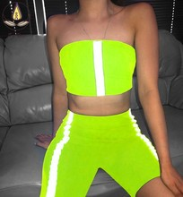 Women Sexy Solid Yoga Vest Sport Clothing with Fluorescence 2 PCS Top Running Leggings Breathable Lift Up Pants Gril