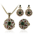 2016 Hot Turkey Jewelry Fashion Vintage Look Flower Crystal Necklace Earrings Ring Sets Plating Ancient Bronze Exquiste Gift
