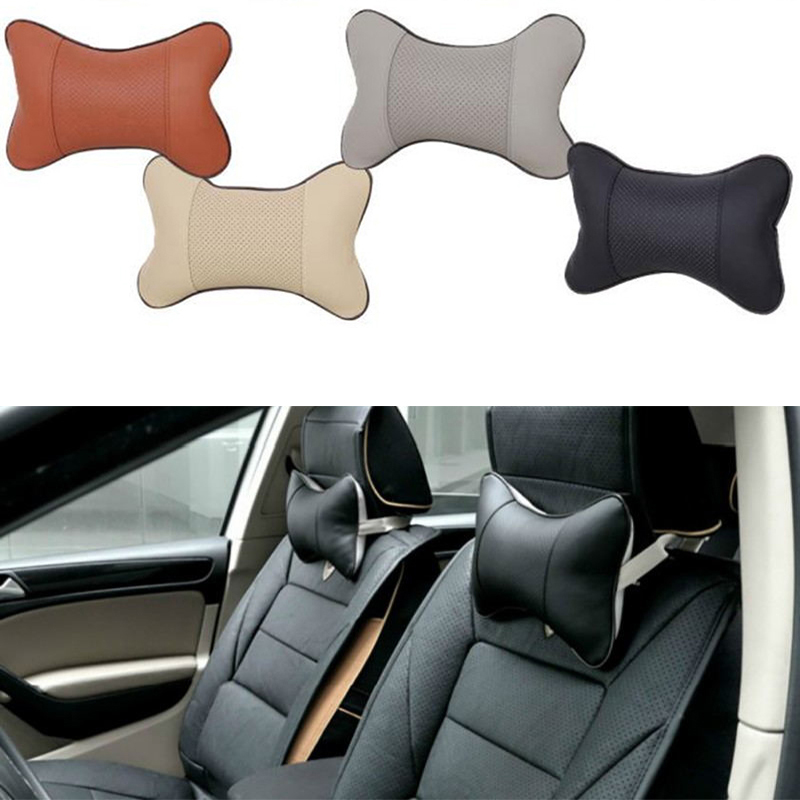 Car Leather Safety Pillow Auto Universal Headrest Breathe Car Auto Seat Head Neck Rest Cushion Headrest Pillow Pad For TOYOTA VW