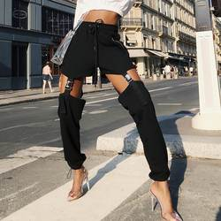 Женская обувь на застежке-молнии карман Штаны эластичные Высокая талия с пряжкой пот Штаны выдалбливают Свободные шаровары Штаны панк