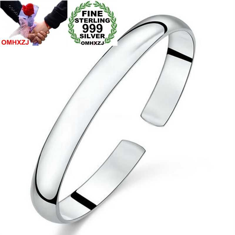 OMHXZJ Wholesale Chinese Simple Fashion Woman Child Glossy Heart Sutra 999 Sterling Silver Bracelet Bangles Open Adjustable SZ50