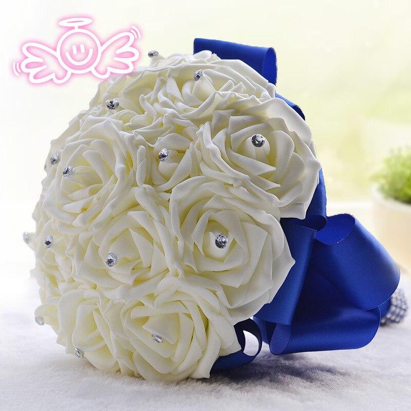 21pc Bridal Bouquets Wedding Silk Flower Royal Blue Silver White Bride 039 S Bouquet Ebay