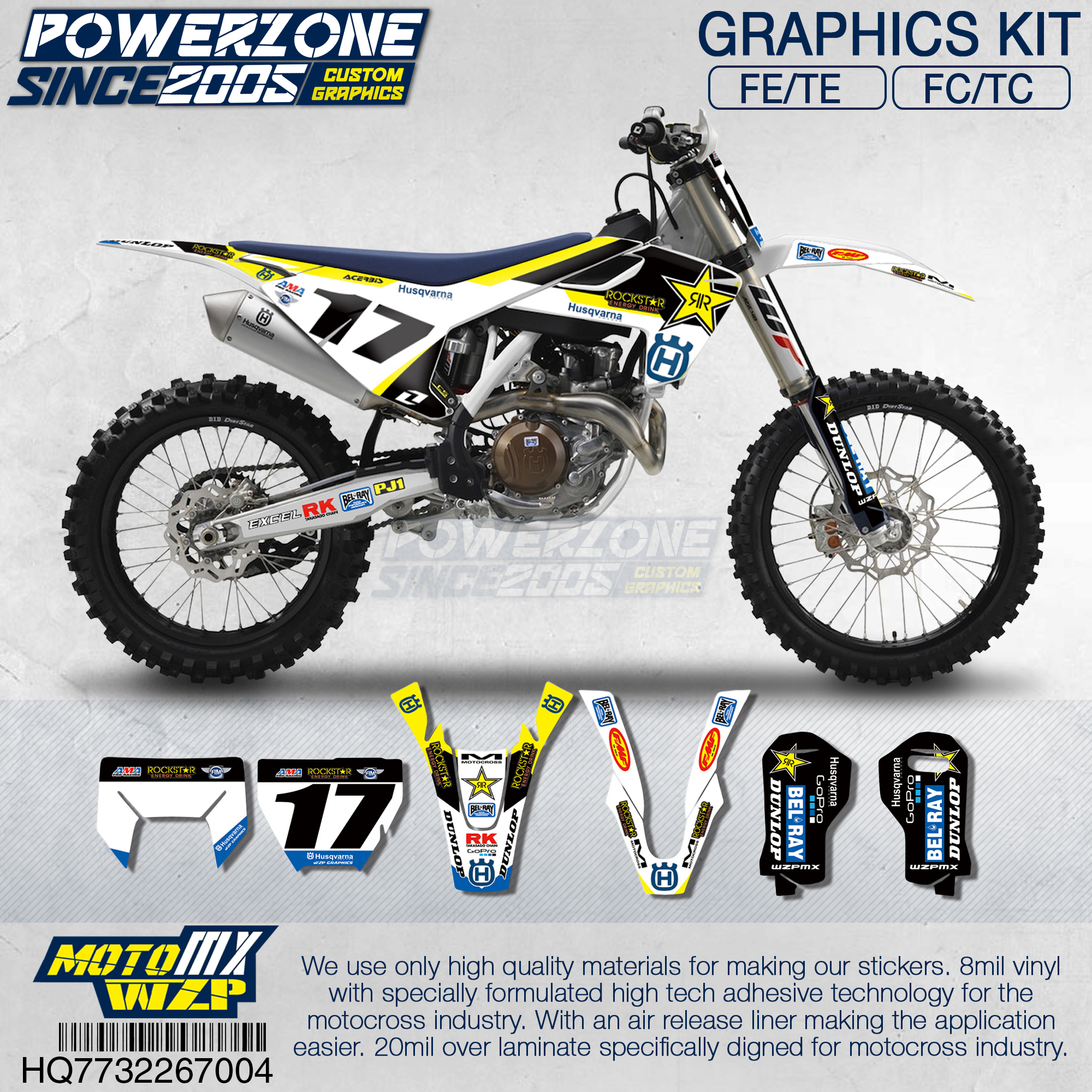 PowerZone Team Graphics Backgrounds Decals 3M Custom Stickers Roc Kit For Husqvarna 2017 18 19 FE