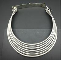 hot sell new free shipping Tribal Exotic Chinese Handmade peculiar Jewelry 3 5row Miao Silver Carved veins necklace