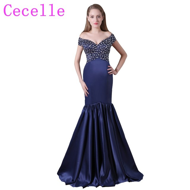 Sparkling Beaded Crystals Navy Blue Mermaid Long Prom Dresses off the shoulder  Satin Simple Elegant Prom Party Gowns Real Photos 744d45e44