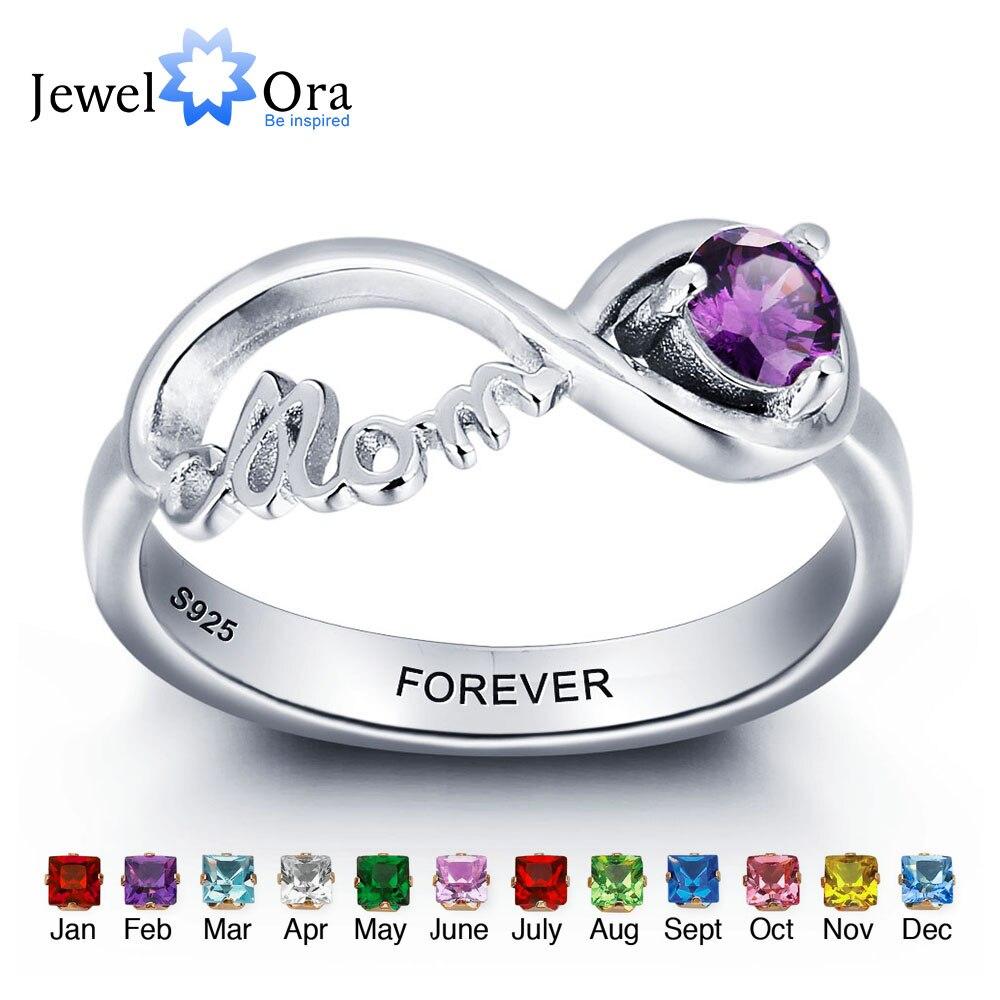 5a9ec99b9cf7 Personalizado grabado nombres Birthstone mamá joyería 925 plata esterlina  anillos personalizados para las mujeres caja de regalo libre (JewelOra  RI101967) ...
