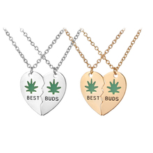 green Enamel Best buds BFF Necklaces for 2 heart Stitching Necklace Best Friend Necklace friendship Gift for bestfriends Jewelry