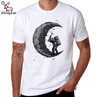 ZiLingLan Summer Men Fashion Digging The Moon Design T Shirt Men S High Quality Custom Printed
