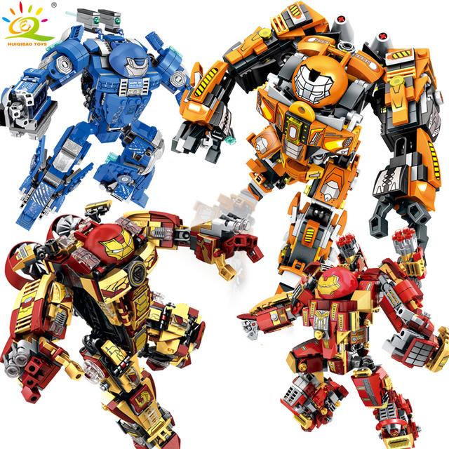 HUIQIBAO Tony Stark Armor Hulk Building Blocks Infinity war Machine MK44 Hulkbuster patriot figures bricks Toy for children boy