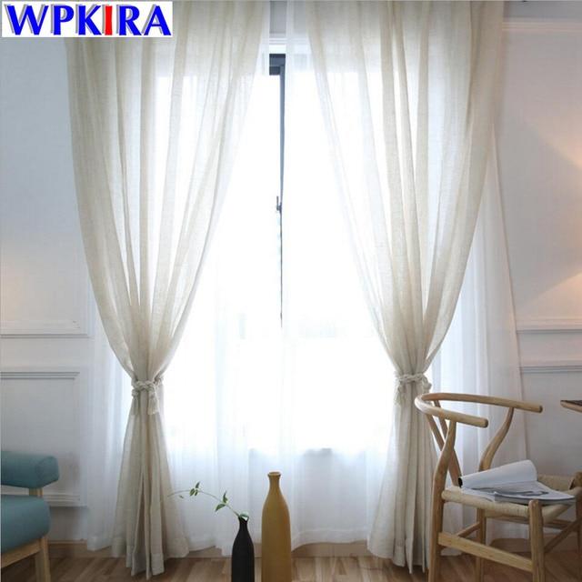 Bianco tende di lino tulle tende moderne beige tenda pura voile di soggiorno cortinas camera da - Cortinas lino beige ...