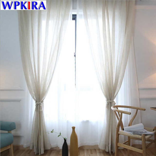 White Linen Curtains Tulle Modern Beige Sheer Curtain Voile Living Room Cortinas Past Bedroom