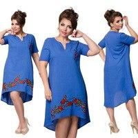 5XL 6XL Large Size 2017 Summer Dress Big Size Sexy V Neck Embroidery Dress Office Dress