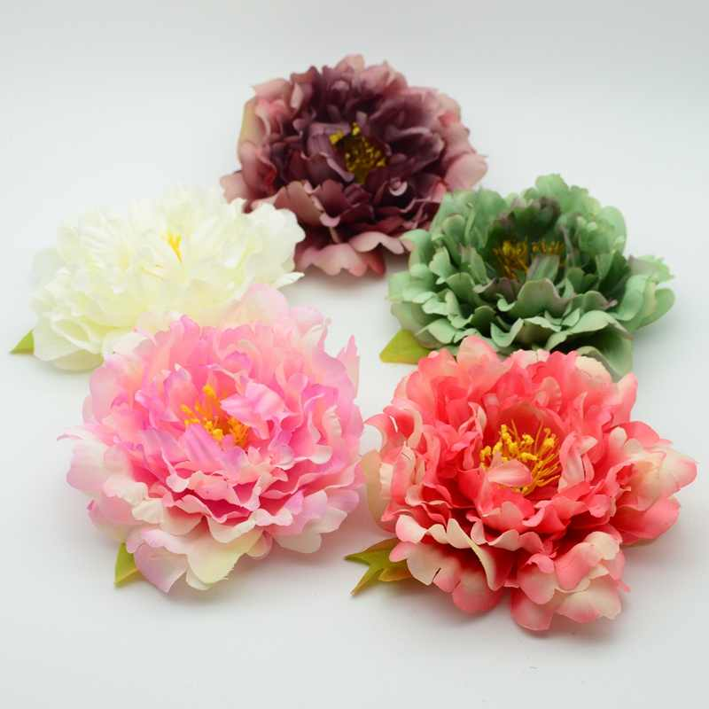 13cm silk plastic peony flower for home decor bridal accessories clearance fake stamen a cap diy gift wreath Artificial flower