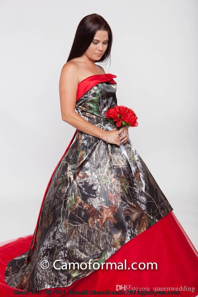 red camo wedding dresses 2016 strapless camouflage bridal gown 2016 modest robe de mariage custom